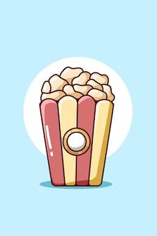Illustrazione di cartone animato dolce pop corn