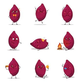 Patata dolce carattere icona animazione cartone animato mascotte adesivo espressione