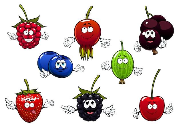 Personaggi dei cartoni animati di lampone dolce, fragola, ribes, ciliegia, mora, uva spina, mirtillo e radica isolati su bianco.