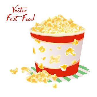 Popcorn dolci o salati in un grande bicchiere di carta sul tovagliolo.
