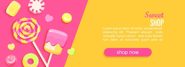 Banner orizzontale negozio di dolci con marshmallow di marmellata di caramelle