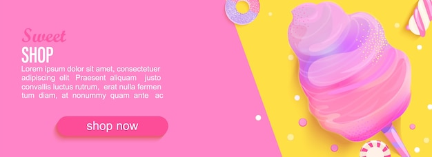 Banner orizzontale di negozio di dolciumi con marmellata di zucchero filato e marshmallow