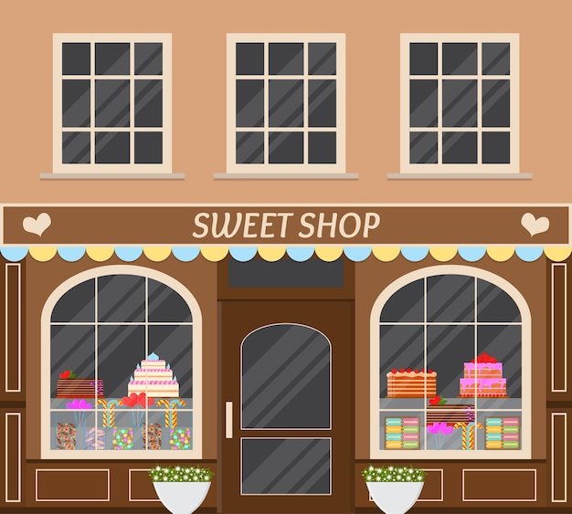 Negozio di dolciumi. bancarella di caramelle in strada. vetrina. stile piatto. architettura d'epoca. torte, lecca lecca, chicche. illustrazione vettoriale.
