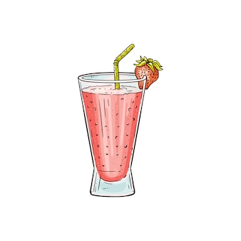 Disegno dolce del frappé della fragola isolato