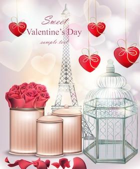 Scheda di san valentino dolce con fiori e cuori
