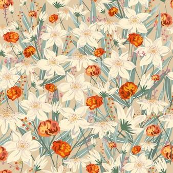 Dolce vintage floreale con foglia seamless.
