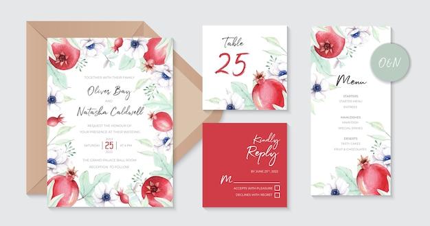 Dolci modelli di invito a nozze con melograni acquerello e fiori di anemone