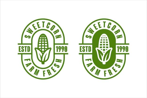 Marchio di disegno vettoriale fresco di fattoria di mais dolce