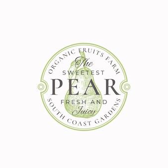 Il distintivo o modello di logo dell'azienda agricola di pere più dolce.