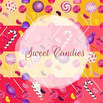Sfondo di dolci con lecca-lecca, gommoso e jelly bean