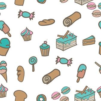 Fondo senza cuciture di vettore disegnato a mano di scarabocchio del forno dei dolci