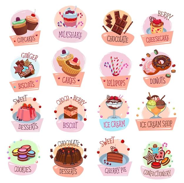 Dolci, dessert, gelato e cioccolato icone vettoriali di cibi dolci. torte, ciambelle e cupcake, caramelle, macaron e muffin, simboli di biscotti, budini e panpepato, pasticceria, caffè e confetteria