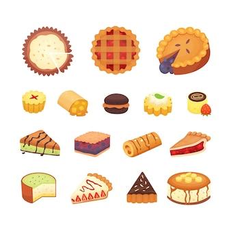 Collezione di oggetti di dolci dessert. insieme della torta del dessert della torta del forno casalingo.