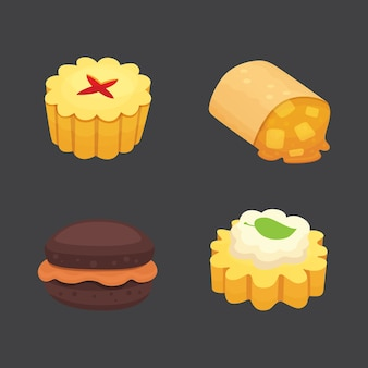 Collezione di oggetti di dolci dessert, torte alla fragola, torte dolci di frutta e frutti di bosco con crema. insieme della torta dessert torta da forno casalinga.