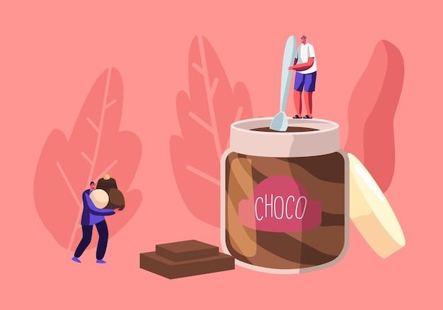 Gli amanti dei dolci e il concetto di persone dai denti dolci con un piccolo personaggio maschile che tiene il cucchiaio stanno sul vaso enorme che mangia pasta di cioccolato, illustrazione piana del fumetto
