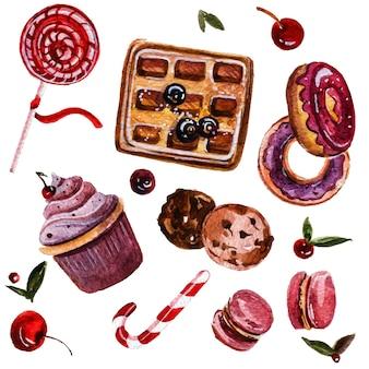 Insieme dell'acquerello disegnato a mano di confezione dolce cialde e ciambelle, cupcakes e caramelle.