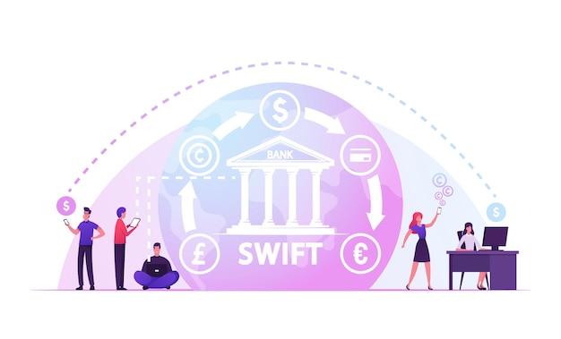 Swift, società in tutto il mondo delle telecomunicazioni finanziarie interbancarie, illustrazione piatta del fumetto