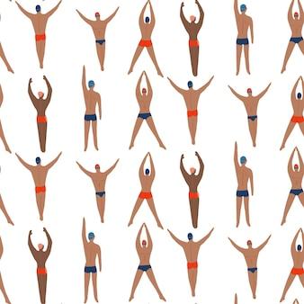 Uomini nuotatori impegnati in sport nuoto vista dall'alto modello senza cuciture estivo su sfondo bianco