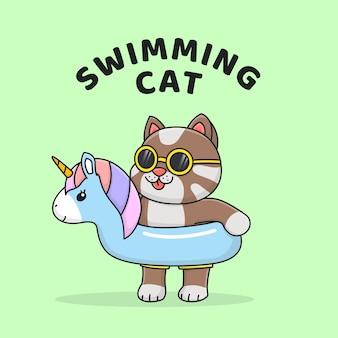 Gatto di nuoto con galleggiante unicorno indossando occhiali da sole