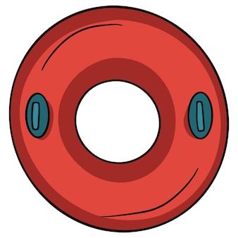 Cerchio di nuoto. salvagente. un anello gonfiabile per chi non sa nuotare. cose di cui hai bisogno in spiaggia. stile cartone animato. illustrazioni per il design e la decorazione.