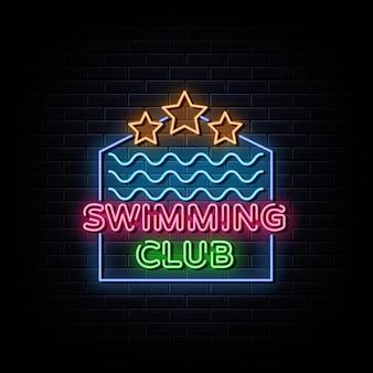 Simbolo al neon dell'insegna al neon del club di nuoto