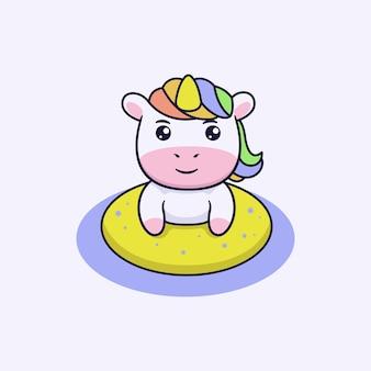 Nuoto simpatico personaggio unicorno