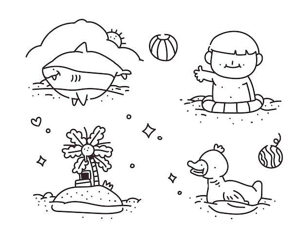 Doodle di nuoto. stile di disegno di nuoto