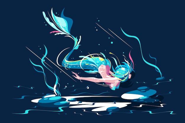 Nuoto fata sirena illustrazione