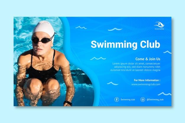 Modello di banner orizzontale di nuoto