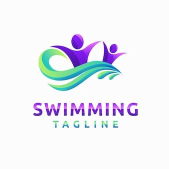 Logo di nuoto con concetto di colore sfumato