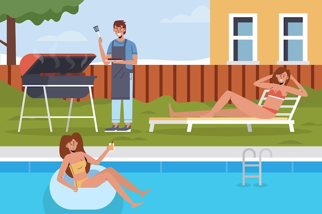 Piscina e grill staycation