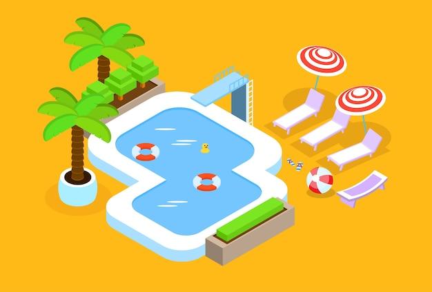 Progettazione isometrica di vacanze estive 3d della piscina dell'hotel