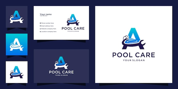 Logo di manutenzione della piscina con lettera iniziale a design