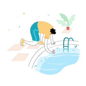 Manutenzione della piscina. l'illustrazione vettoriale dell'uomo colpisce e alghicida la piscina