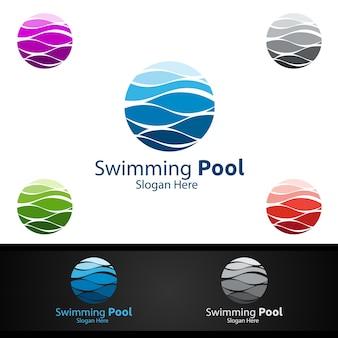 Logo di servizio piscina con piscina di pulizia e progettazione di massima di manutenzione