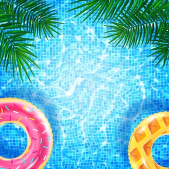 Piscina con ondulazione caustica ad anello galleggiante ed effetto abbagliamento della luce solare