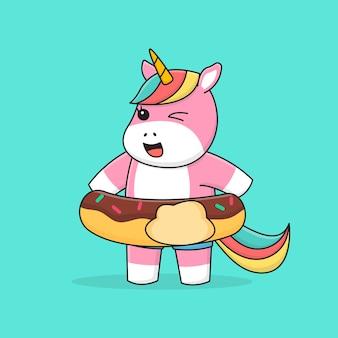 Unicorno di nuoto con anello di gomma a ciambella