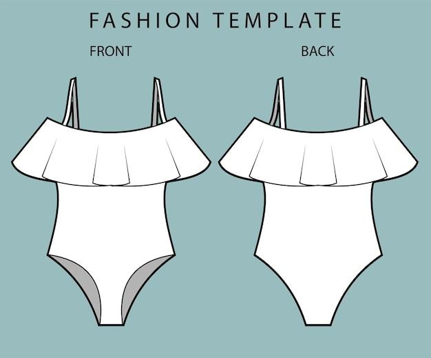 Vista anteriore e posteriore del costume da bagno Vettore Premium