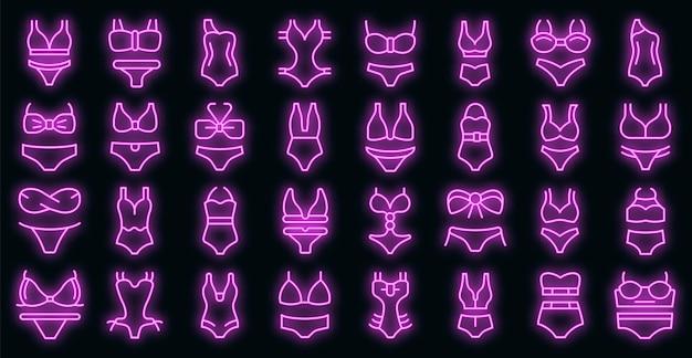 Set di icone del costume da bagno. contorno set di icone vettoriali costume da bagno colore neon su nero