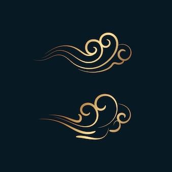Ornamento dorato astratto di turbinio, onda o vento.