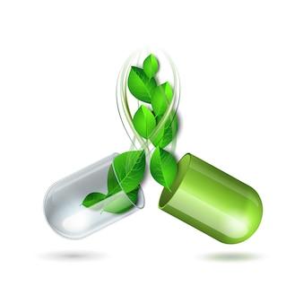 Il vortice di foglie verdi vola fuori dalla compressa medica naturale aperta. simbolo di vettore farmaceutico con foglia per farmacia, medicina omeopatica e alternativa. illustrazione vettoriale, isolato su bianco