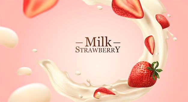 Liquido di latte vorticoso con fragole su sfondo rosa chiaro