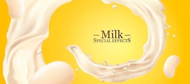 Liquido di latte vorticoso su sfondo giallo