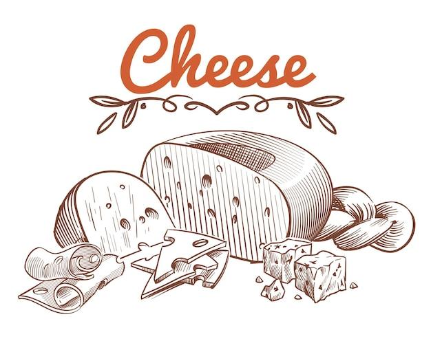 Illustrazione di schizzo di formaggio svizzero