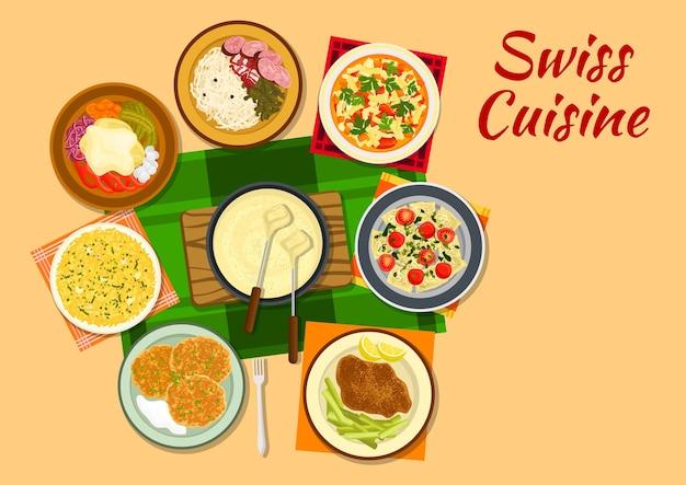Fonduta di formaggio della cucina svizzera con cotoletta al formaggio, rosti di patate fritte, minestrone, raclette di patate con formaggio piccante, risotto allo zafferano, salsicce con crauti e ravioli di bietole