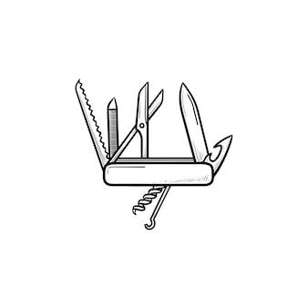 Coltello pieghevole svizzero icona di doodle di contorni disegnati a mano. multiuso e coltellino militare, concetto di temperino. illustrazione di schizzo vettoriale per stampa, web, mobile e infografica su sfondo bianco.