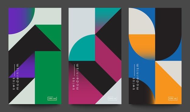 Set di bandiere del modernismo svizzero. forme e forme geometriche semplici.
