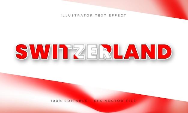 Effetto di testo modificabile svizzera con trama bandiera svizzera