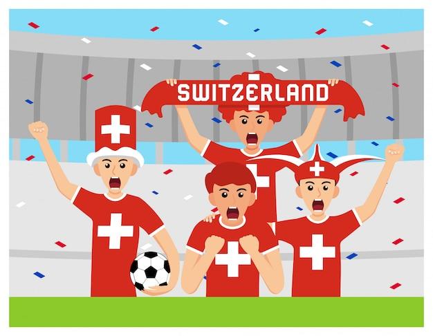 Sostenitori della svizzera in design piatto