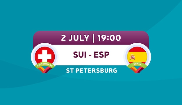Illustrazione vettoriale di partita svizzera vs spagna campionato di calcio 2020